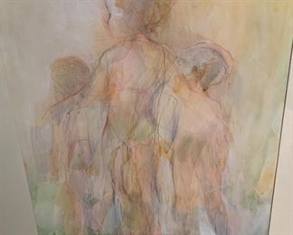 """66. Abstract Watercolor 3 Figures by Saul Gross (29"""" x 33"""")"""