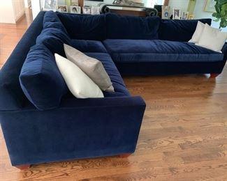"62. Avery Boardman Blue Velvet 2pc Sectional (100"" x 39"" x 33"" x 126"")"