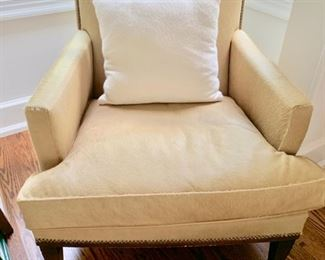 """72. Cowhide Upholstered Accent Chair w/ Nailhead Detail (33"""" x 32"""" x 27"""")"""