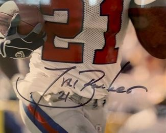 80. #21 of Giants Signed by Tiki Barber Photo w/ Cert. of Authenticity