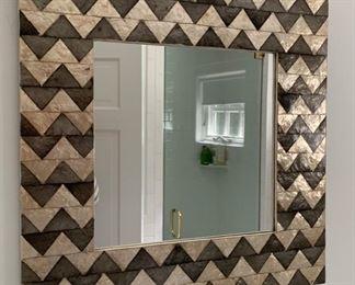 """82. Herringbone Framed Mirror (24"""" x 24"""")"""