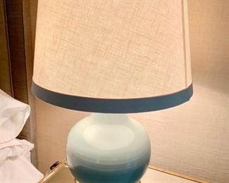 "100. Pair of Celadon Lamps (22"")"