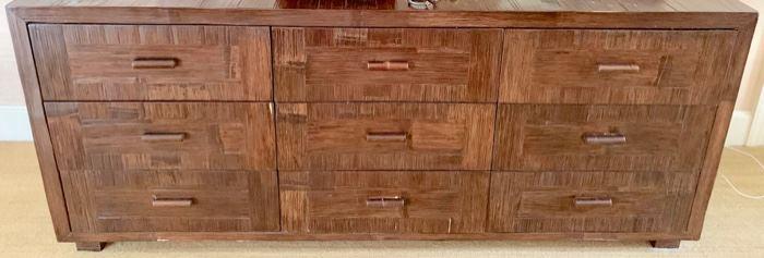 """106. Textured 9 Drawer Dresser (72"""" x 20"""" x 30"""")"""