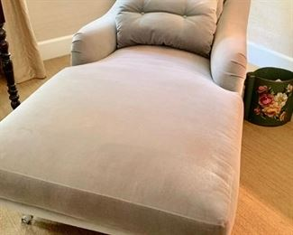 """102. Velvet Upholstered Chaise (34"""" x 72"""" x 32"""")"""