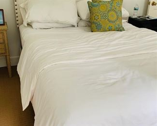 113. Queen Size Upholstered Bed w/ Nailhead Detail