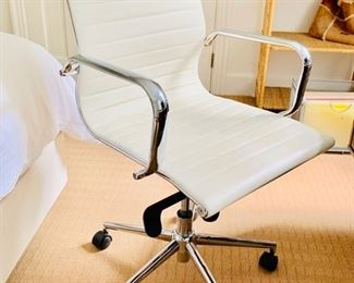 116. White Leather Desk Chair