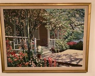 """125. Front Porch Scene signed Peter H. (45"""" x 34"""")"""