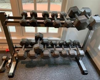 130. 8 Sets of Hand Weights w/ Rack Continental Systems 10 to 50lbs