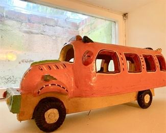 171. Ceramic Bus Art Piece