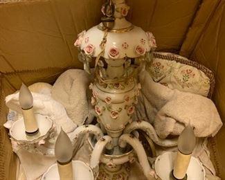 """135. 5 Arm Porcelain Chandelier (22"""" x 26"""")"""