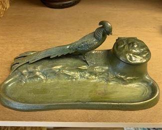 194. Brass Bird Hinged Lid Ink Well