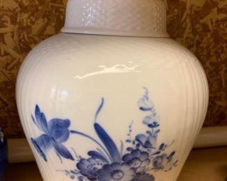 193. Royal Copenhagen Lidded Urn, Blue Flowers # 1791