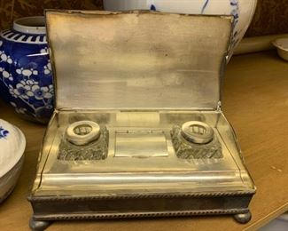 202. Vintage Silver Plate Double Inkwell Writing Box with Pen Holder