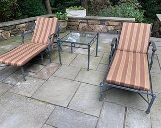 140. Pair of Brown Jordan Chaise Lounges 141. Brown Jordan Glass Top Table