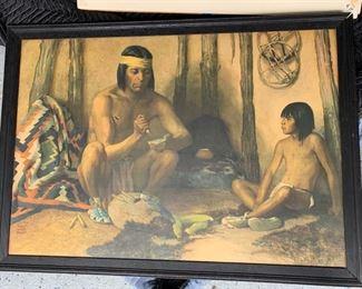 "153. American Indian Scene by Herbert Wesley Albright (44"" x 31"")"