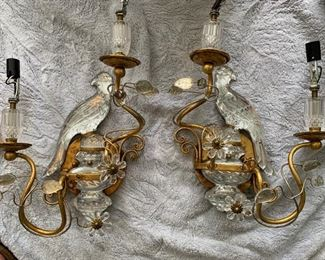 """157. Pair of Glass and Gilt Bird Sconces in the Style of Bagues (18"""" x 12"""")"""