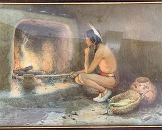"""158. Taos Indian Scene Photomechanical Print Copyright 1904 by Eanger Irving Couse (26"""" x 20"""")"""