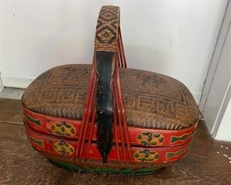 """161. Asian Painted Basket (18"""" x 10"""" x 16"""")"""