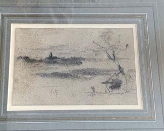 "189. Carpeaux Signed Charcoal Drawing ""Landscape"""