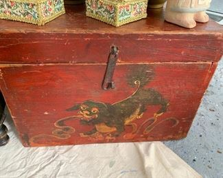 """160. Small Asian Trunk w/ Painted Lion (18"""" x 12"""" x 13"""")"""