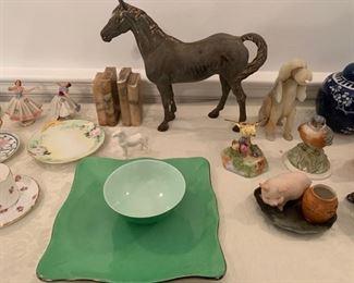 212. Limoges Marion Rebecca idc Paris square green plate & bowl set