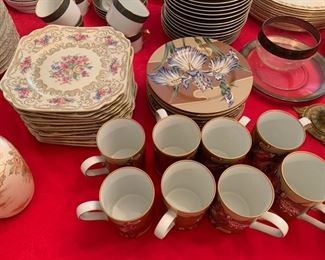 207. Fitz & Floyd Cloisonne Iris 8 Plates and 8 Mugs 205. 12-Heinrich & Co. Selb Bavaria Square Floral Salad/Dessert Plates