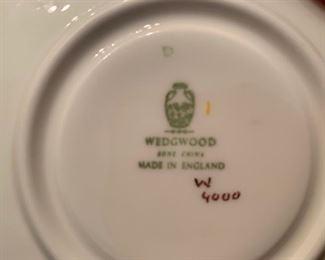 204. Wedgwood White & Gold Bone China 12-4 piece place settings & Gravy Boat W4000