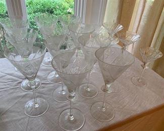 49. 12 Cut Crystal Champagne Glasses