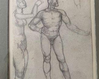 "190. Graphite ""Figure Studies"" by F. Holder (5' x 8"")"