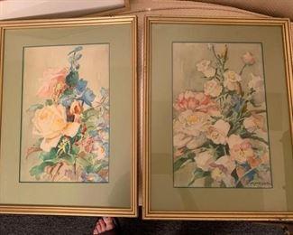 "218. Pair of Floral Watercolors Signed David Morrison (12"" x 17"")"