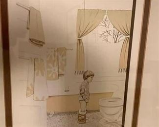 """220. Lithograph Signed Fortune Boy in Bathroom 5/300 (as is) (15"""" x 18"""")"""
