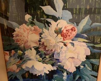 "219. Watercolor Of Pionies Signed David Morrison (18"" x 24"")"