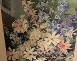 """219. Watercolor Of Wildflowers Signed David Morrison (18"""" x 24"""")"""