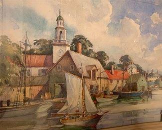 "219. Watercolor Of River Scene Signed David Morrison (18"" x 24"")"