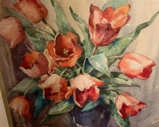 """219. Watercolor Of Tulips Signed David Morrison (18"""" x 24"""")"""