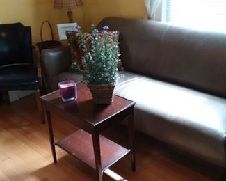Leather Sofa; Vintage Mahogany (Imperial Furniture) Side Table and much more!