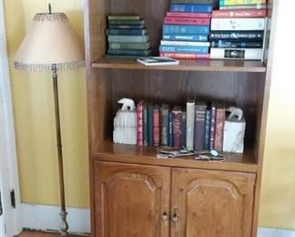 Pole Lamp; Books; Bookends; Brass Candlesticks; and a Pair of Book / Display Cases