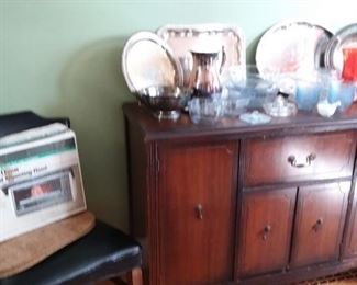 Vintage Mahogany Sideboard/Buffet; Silverplate Serving Pieces; Glass Serving Pieces and much more!