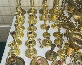 Baldwin brass candle sticks of varying sizes