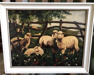 LOCAL- this was painted by Miss Ella Sagendorf, sister to Mary Jean Sagendorf Link , who was mother to Elberta link Legget. It is estimated that she painted it around 1865 at the age of 20. Ella Sagendorf was a teacher, lived in later years in Ghent