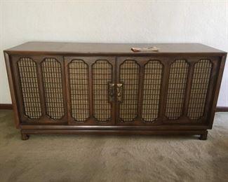 Retro TV/Stereo Cabinet with Speakers, Place for Turntable & TV, Sliding Doors, Secret Storage, Original Magazine Ad