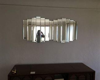 """Beveled Rectangular Mirrors Form This 3-D Wall Art, 1980s? 52"""" long x 4"""" deep x 24"""" Tall"""