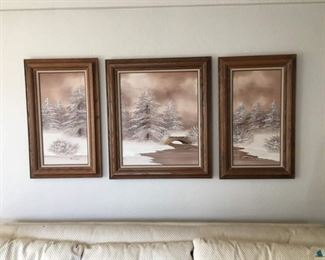"""Set of 3 Paintings Together Create a Snowy River Scene w/Quiet Frosty Trees, Signed """"Barrister"""""""