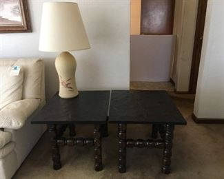 Pair Matching Side Tables, Heavy Black Slate Tops (Not Attached) & Cream Ceramic Lamp w/Brushstroke Design