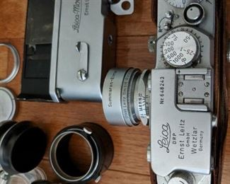 Vintage Leica camera with lenses