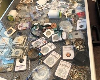 Coins and jewelry