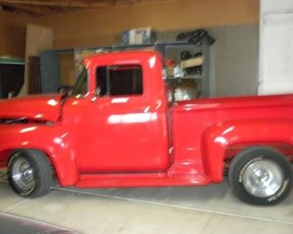 1956 F100 PICKUP RED W/350 CHEVY MOTOR, M21 ROCK CRUSHER,  SPEED MANUAL, OAK AND STAINLESS EXHAUST PRICE:$22,000