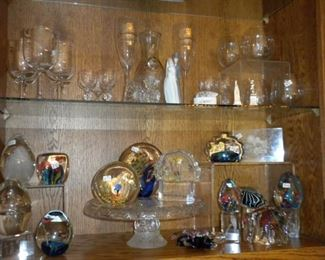 VINTAGE PAPERWEIGHTS AND GLASSWARE