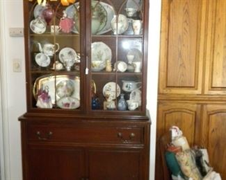 ANTIQUE HUTCH AND CHINA