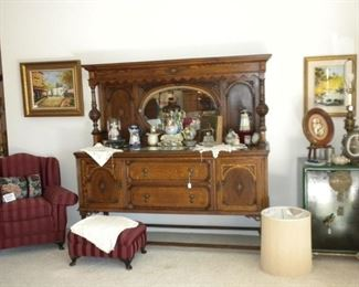 ANTIQUE BUFFET AND DECOR